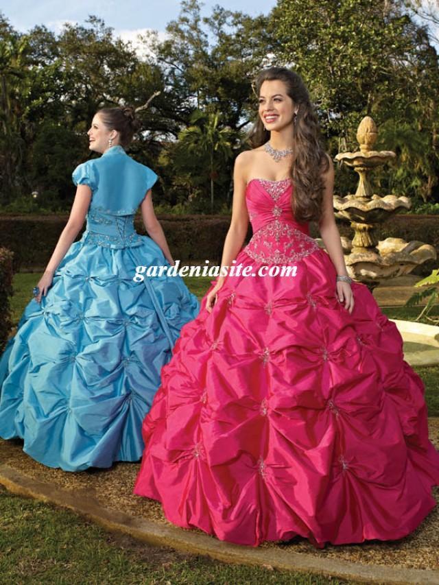 wedding photo - Ball Gown Strapless Taffeta Floor-length Sleeveless Crystal Detailing Quinceanera Dresses