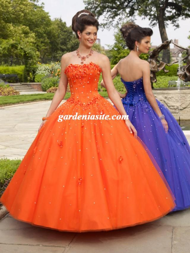 wedding photo - Ball Gown Strapless Tulle Floor-length Sleeveless Crystal Detailing Quinceanera Dresses
