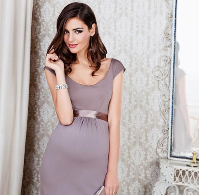 wedding photo - Sheath/Column Jewel/Scoop Tea Length Sashes/Ribbons Ruffles/Pleats Chiffon Maternity Evening Dress 2014