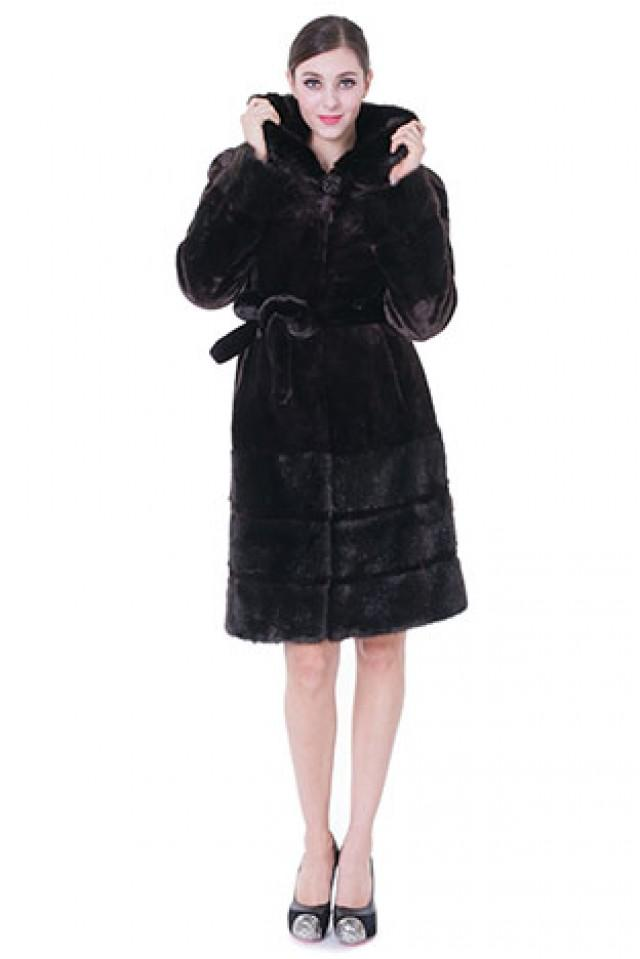 wedding photo - Faux black mink cashmere with mink fur hem women middle coat