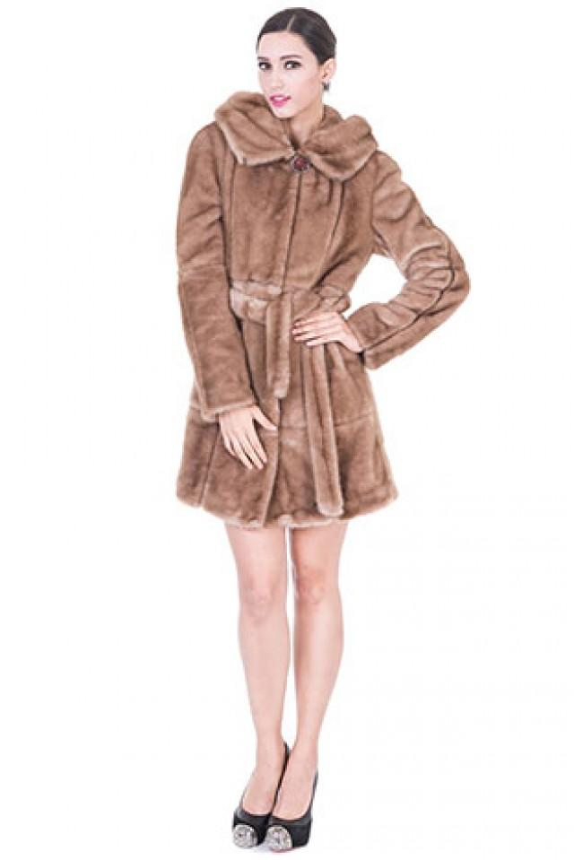 wedding photo - Hanna/luxury faux light coffee mink fur with ruby button middle women coat
