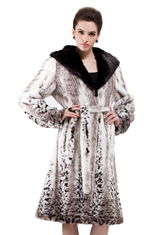 wedding photo - Faux pattern fox fur with black mink fur hat women long coat