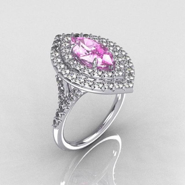 Soleste Style Bridal 10K White Gold 1 0 Carat Marquise Light Pink Sapphire Di