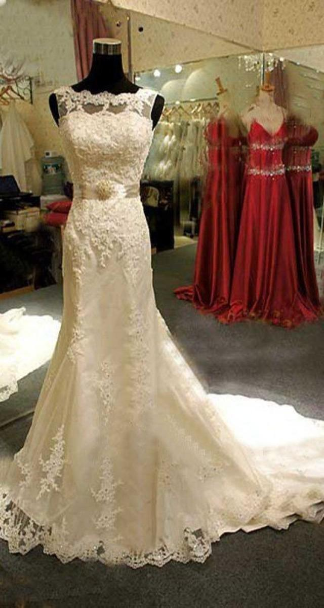 Ivory lace wedding dress bridal trumpet mermaid wedding for Ivory lace wedding dresses