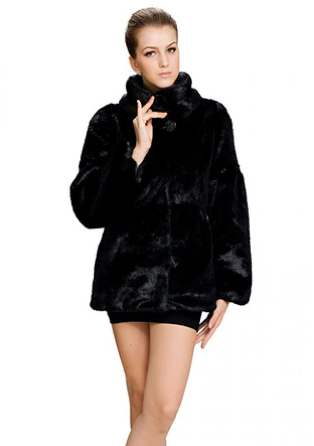 wedding photo - Faux black mink fur with gem button women short coat