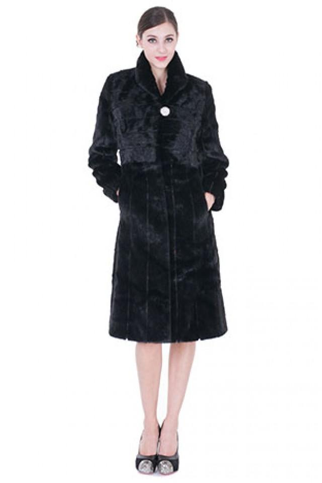 wedding photo - Faux black mink fur with diamond button long women coat