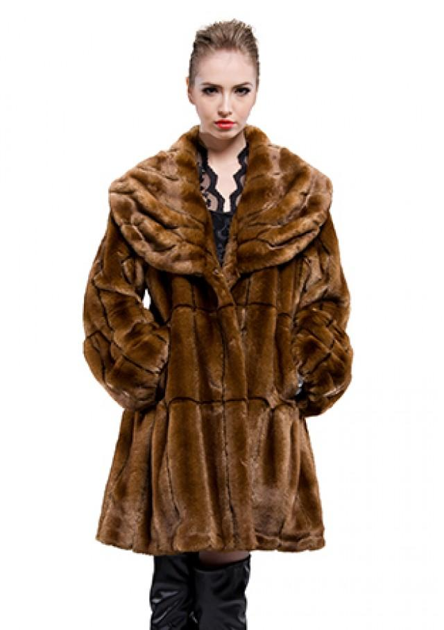 wedding photo - Faux brown mink fur with lotus leaf collar middle fur coat