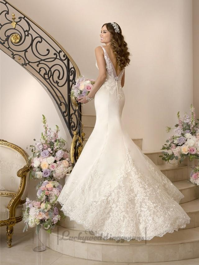 Elegant fit and flare illusion straps wedding dresses with for Deep v back wedding dress