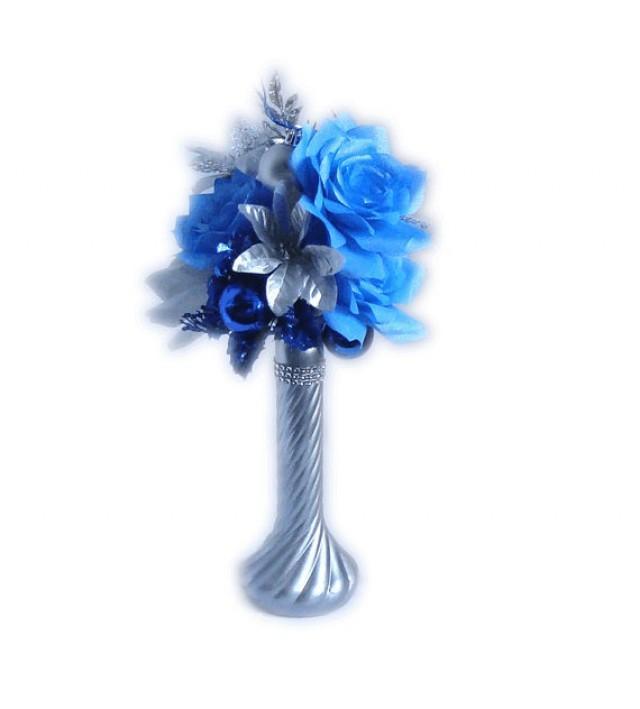 Blue Christmas Centerpiece Holiday Decor Silver