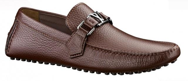 wedding photo - LOUIS VUITTON Mens Brown Grained Leather Loafers Shoes