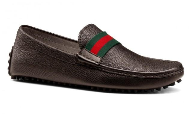wedding photo - GUCCI Men's Driver Brown Loafers Pebble Sole Shoes