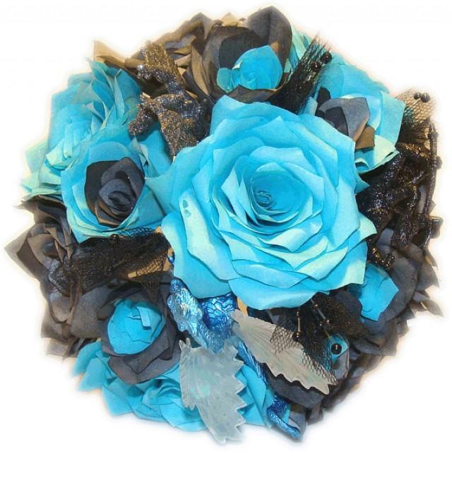 Bridal Bouquet Throwing : Alternative bouquet teal bridal black