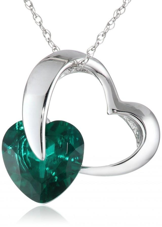 wedding photo - BEST SELLERS - White Gold Ladies Pendant Green Emerald Sapphire Heart Necklace