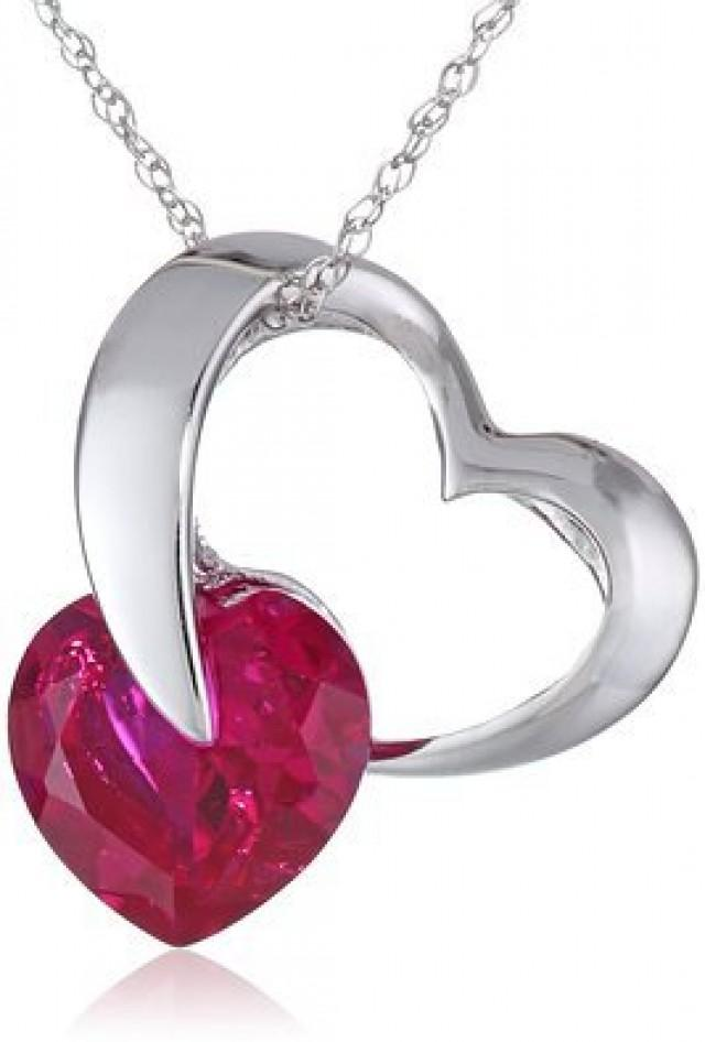"""wedding photo - BEST SELLERS - White Gold Ladies Pendant Red Ruby Sapphire Heart Necklace 18"""""""