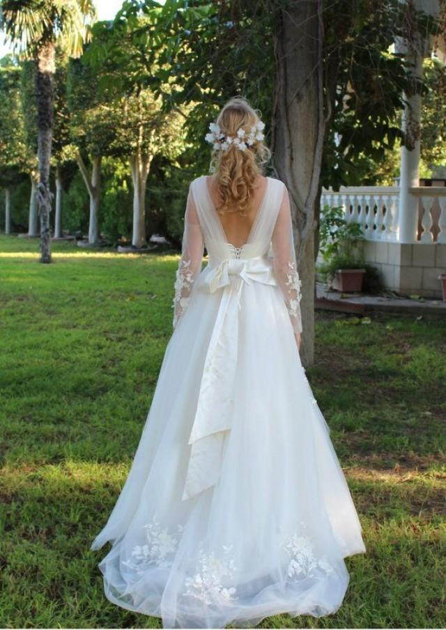 Bohemian wedding dress flower wedding drwess fairy gown for Romantic bohemian wedding dresses