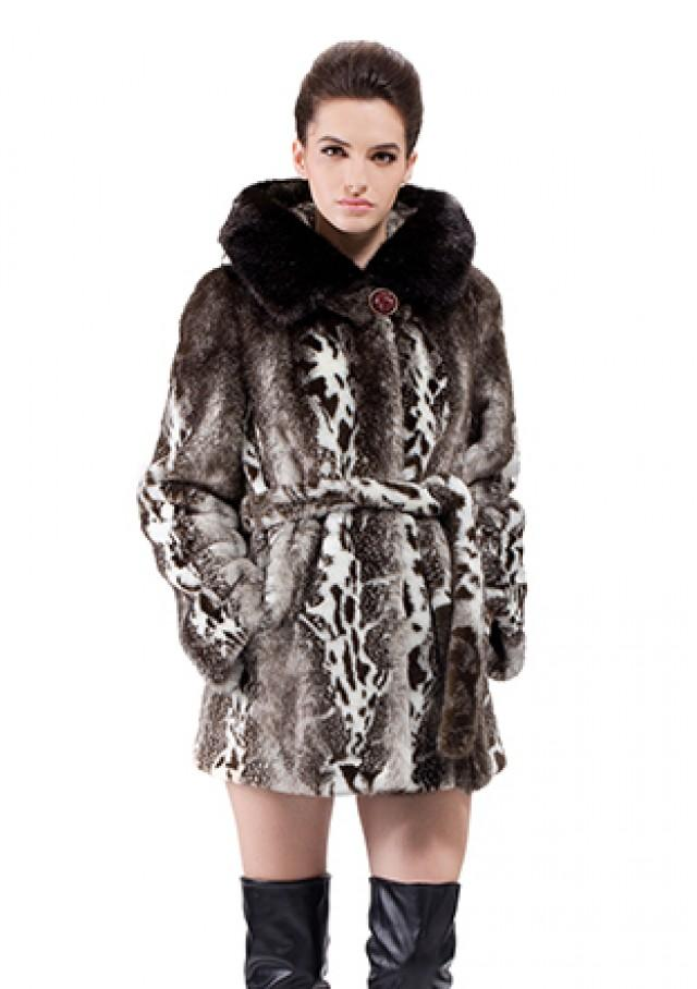 wedding photo - Faux marble pattern mink fur short women coat