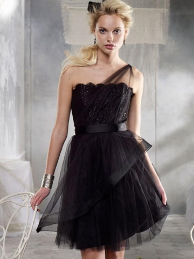 Black one shoulder tulle short bridesmaid dress 2013 for Black tulle wedding dress