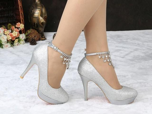 Wedding Heels With Rhinestones: Fashion Silver Rhinestone Wedding Shoe,silver Rhinestone