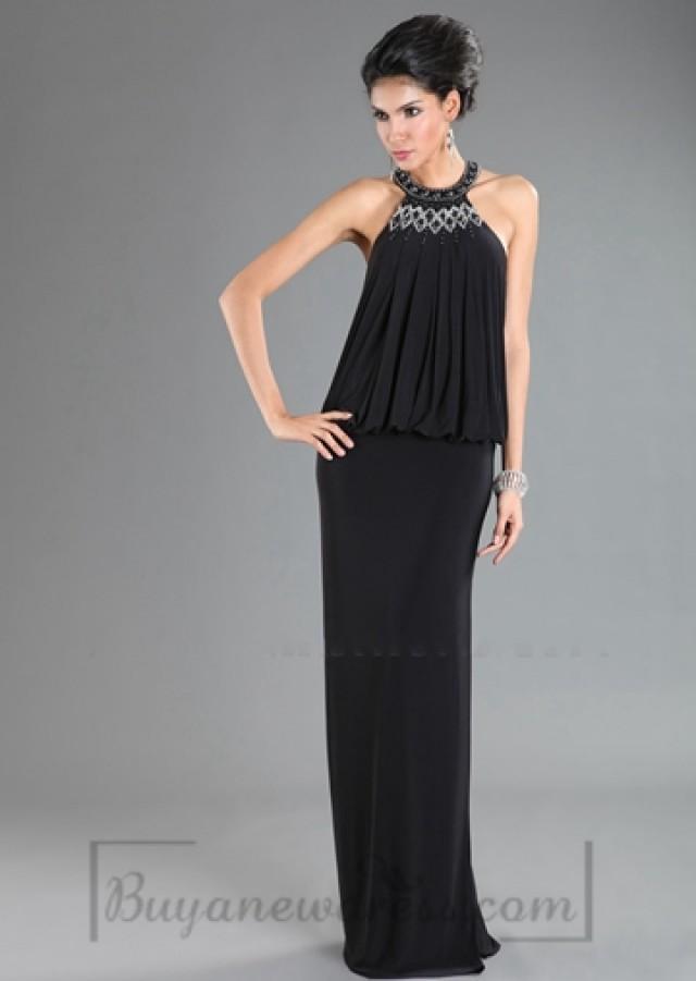 Scoop Dropped Waist Long Evening Dress #2193547 - Weddbook
