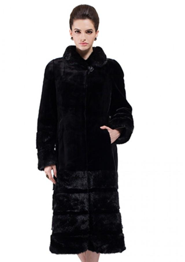 wedding photo - Faux black mink cashmere with mink fur women long coat