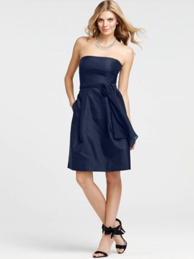 Strapless navy blue knee length bridesmaid dress with sash for What to wear under strapless wedding dress