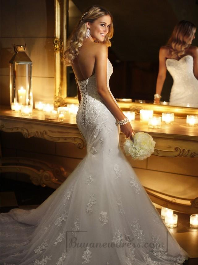 wedding photo - Sweetheart Beaded Lace Appliques Fit and Flare Wedding Dresses