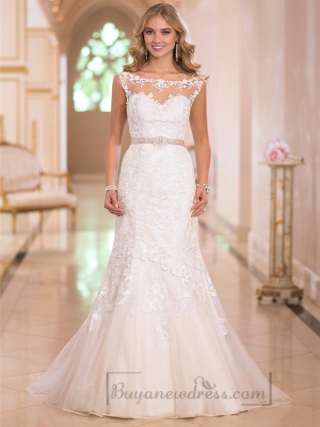 wedding photo - Fit and Flare Illusion Lace Bateau Neckline Wedding Dresses with Open V-back
