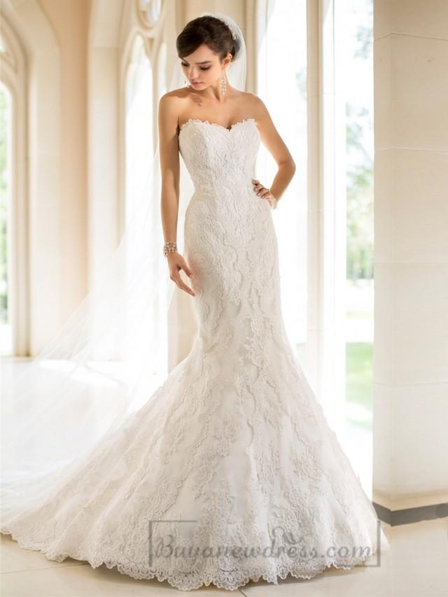 wedding photo - Strapless Trumpet Mermaid Sweetheart Lace Wedding Dresses