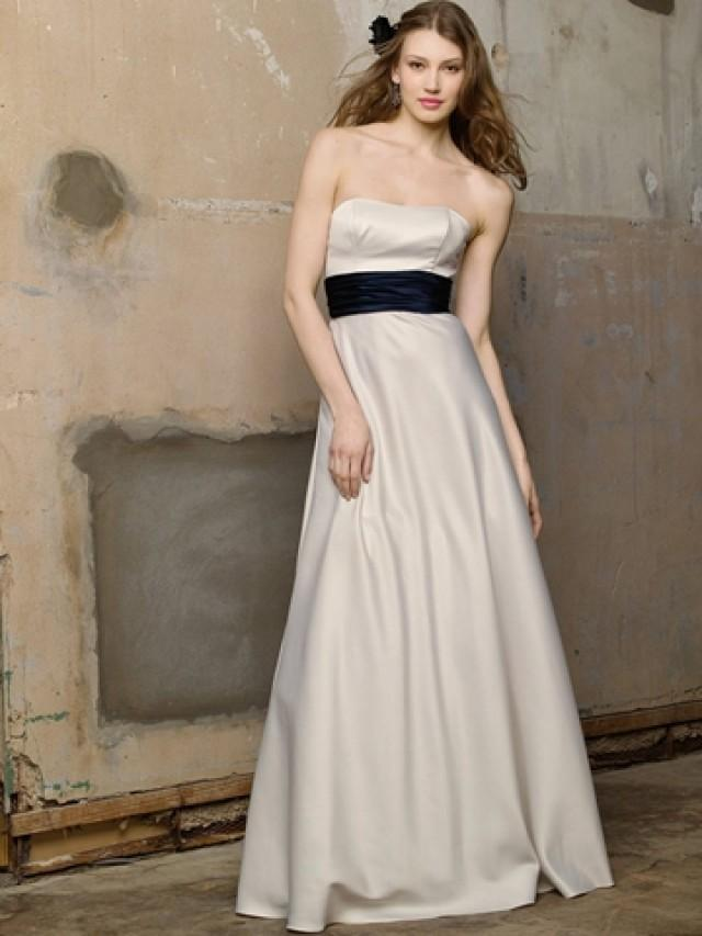 pearl satin strapless floor length dress with a line skirt
