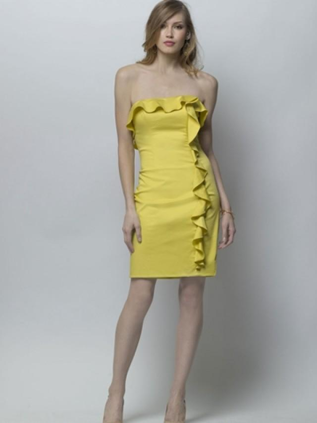 Lemon Cotton Sateen Strapless Sheath Bridesmaid Dress With Ruffled Pencil Ski