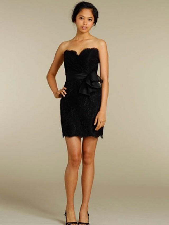 Black lace sheath short bridesmaid dress with strapless for Short sweetheart wedding dress