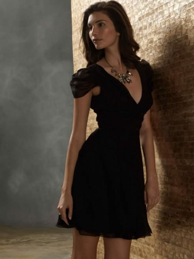 Black Bridesmaid Dresses With Cap Sleeves : Black chiffon a line fashion bridesmaid dress with v neck