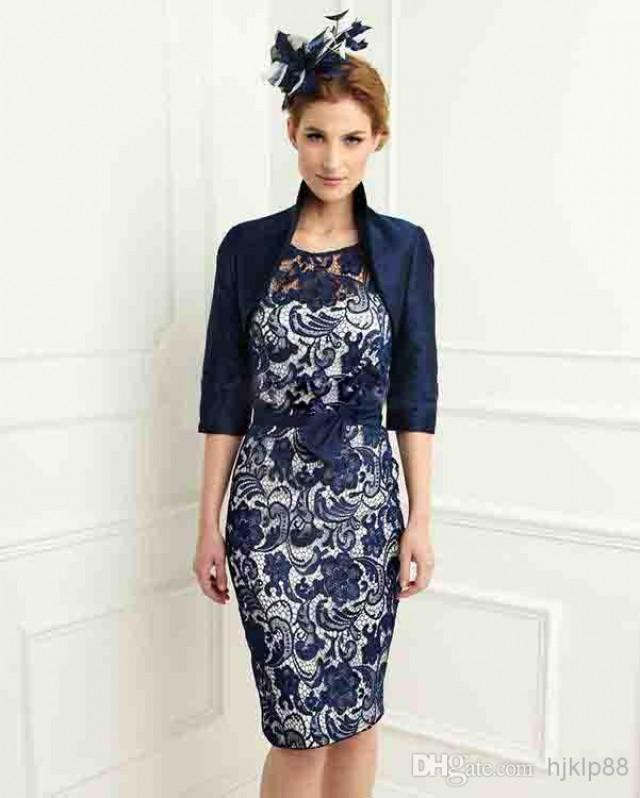 Discount New Navy Blue Satin Lace Knee Length Sheath Scoop ...