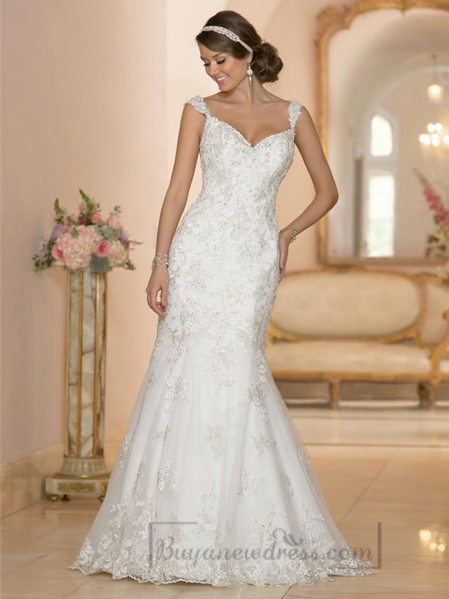 Fit and flare sweetheart lace appliques wedding dresses for V back wedding dress