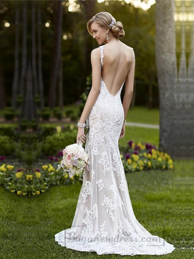 Elegant straps sheath lace over wedding dress with low for Lace low back wedding dress