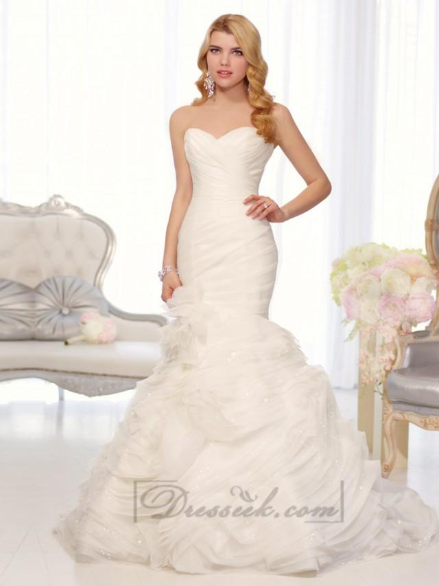 Organza Sweetheart Trumpet Wedding Dresses With Pleated Bodice And Layers Skirt 2194556