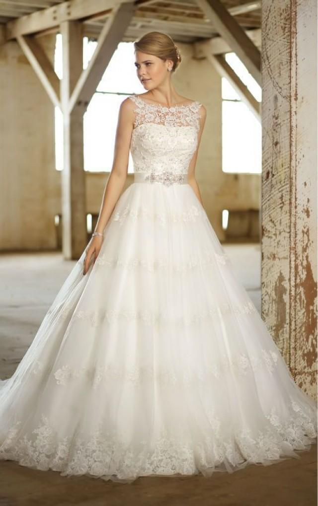2014 wedding dress gown lace illusion neckline