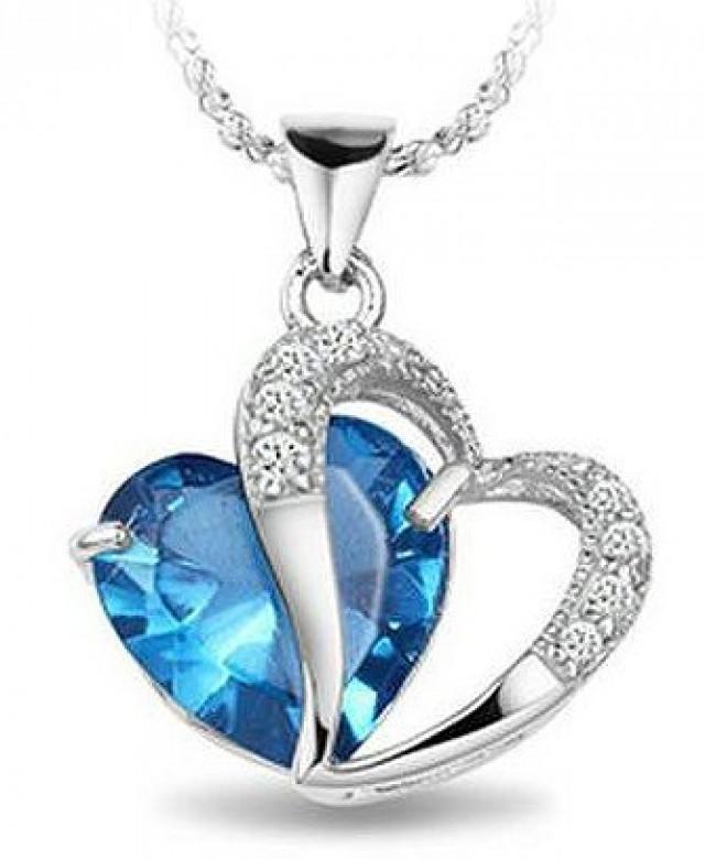 "wedding photo - BEST SELLER - White Gold Rhodium Plated Pendant Blue Sapphire Heart Necklace 18"""