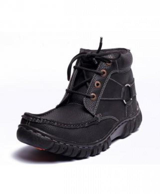wedding photo - ROBUST Black Real Leather Ankle Casual Boots
