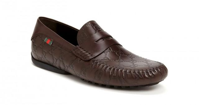 wedding photo - GUCCI San Marino' Brown Leather Guccissima GG Driving Loafer Shoes