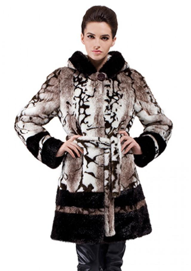 wedding photo - Faux marble pattern mink fur middle with hood women coat
