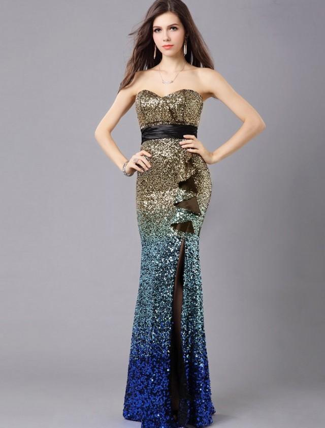 wedding photo - Sheath Column Sweetheart Floor Length Gold Evening Dress