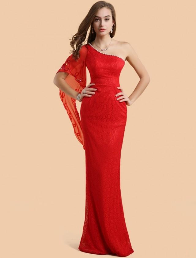 wedding photo - Sheath Column One Shoulder Floor Length Red Evening Dress