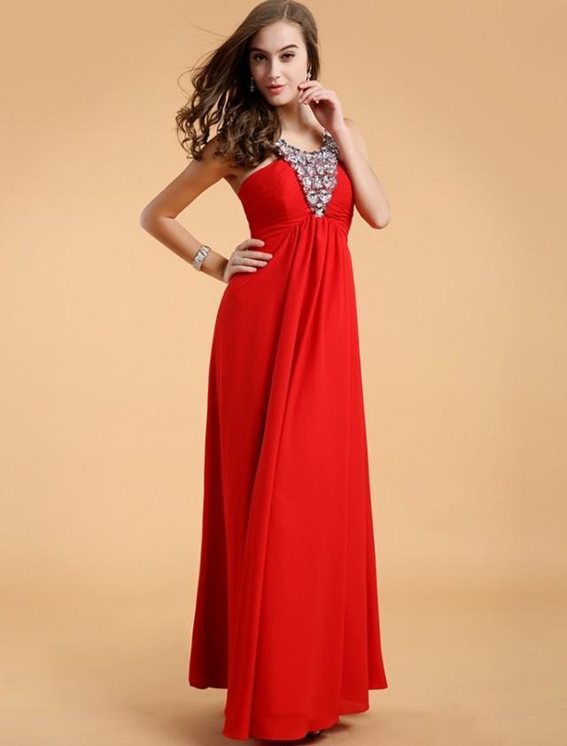 wedding photo - Princess Jewel Floor Length Red Evening Dress