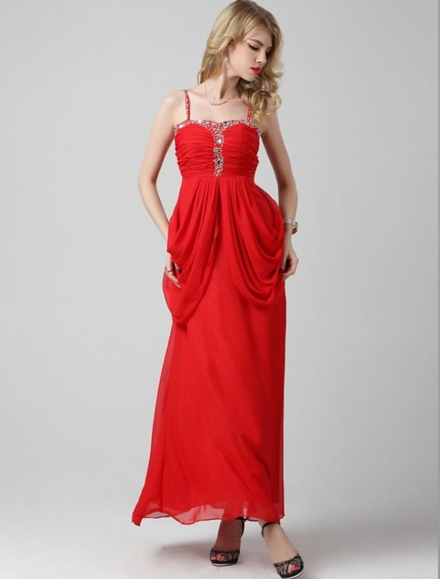 wedding photo - A Line Spaghetti Strap Floor Length Red Evening Dress