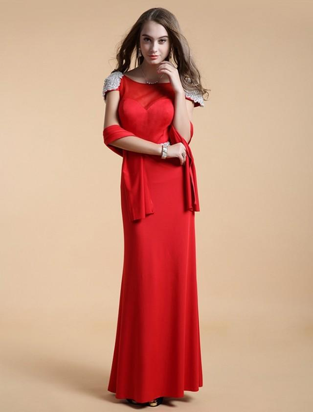 wedding photo - Sheath Column Scoop Floor Length Red Evening Dress