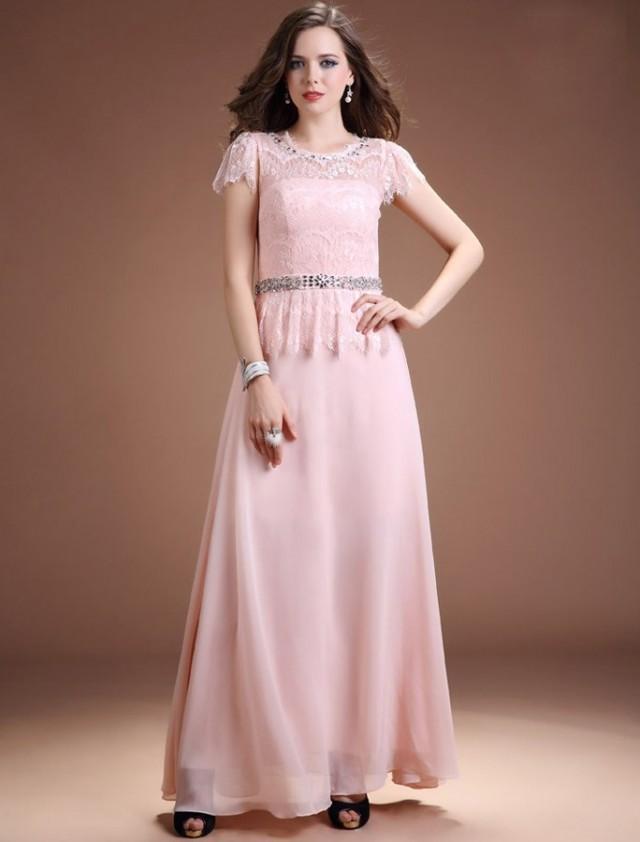 wedding photo - A Line Jewel Floor Length Pink Evening Dress