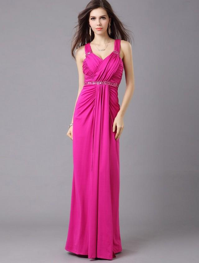 wedding photo - Sheath Column Straps Floor Length Red Evening Dress