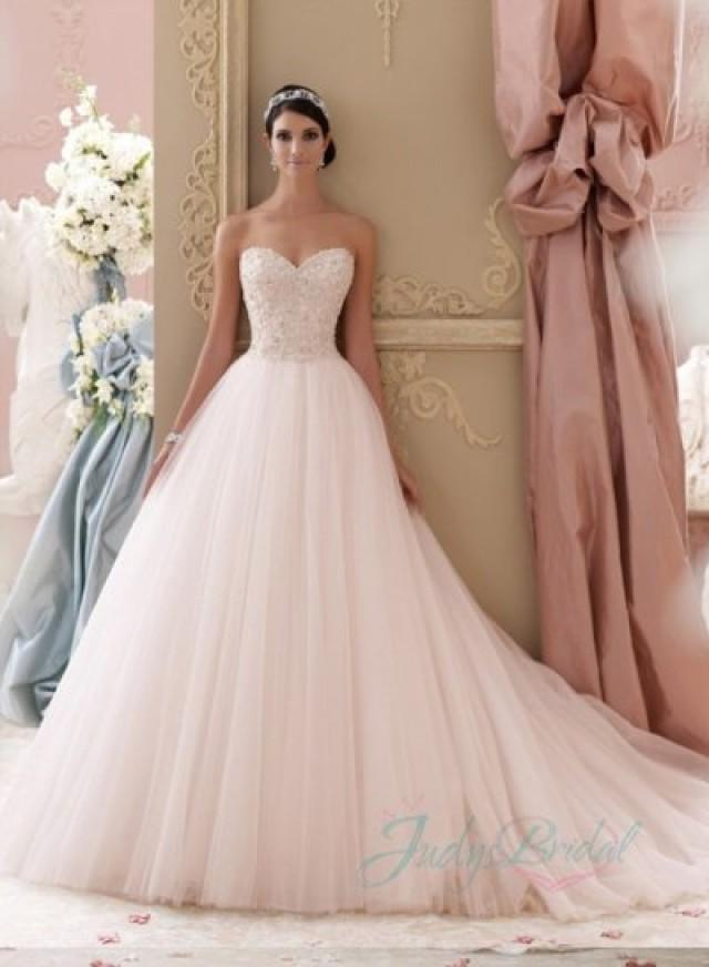 Pink Wedding Dresses Princess : Blush pink colored sweetheart tulle princess ball gown wedding dress