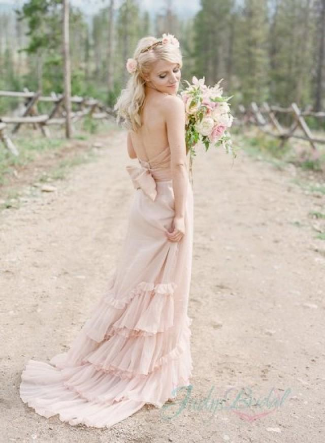 JOL234 Romance Blush Colored Boho Chiffon Wedding Dress Gown 2195816
